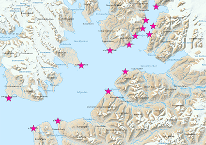Map of lighthouses used in the Isfjorden weather information network